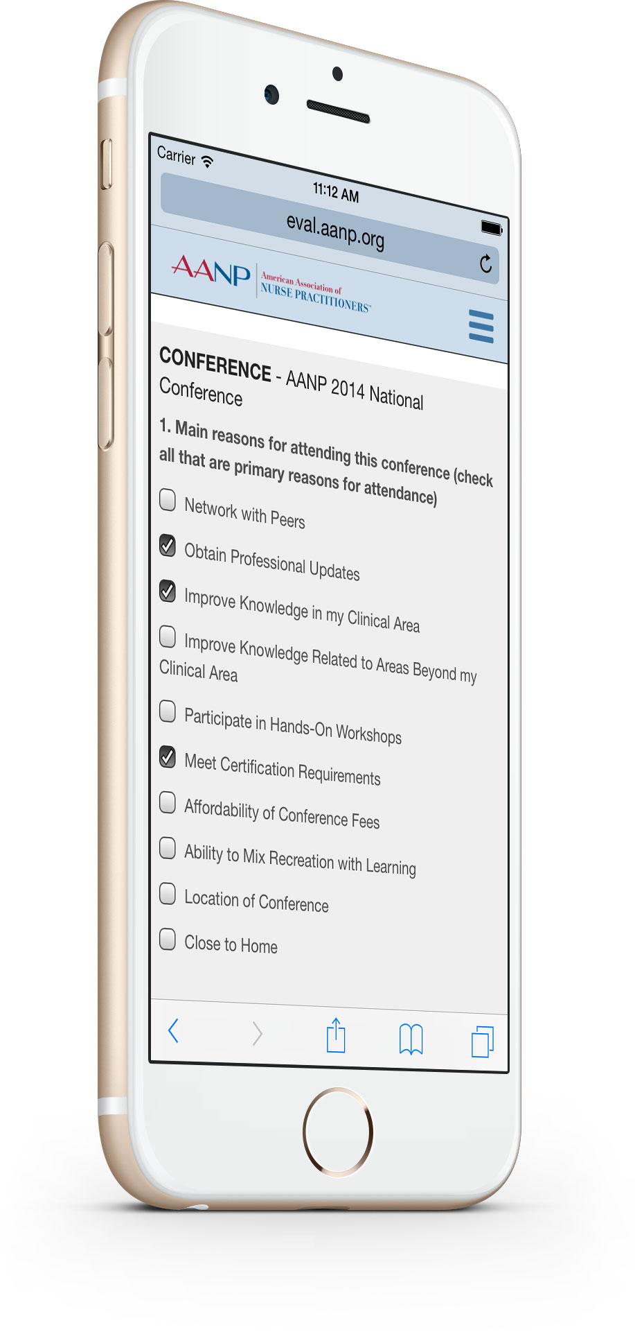 AANP Conference Evaluation - Conference Eval Screen on mobile