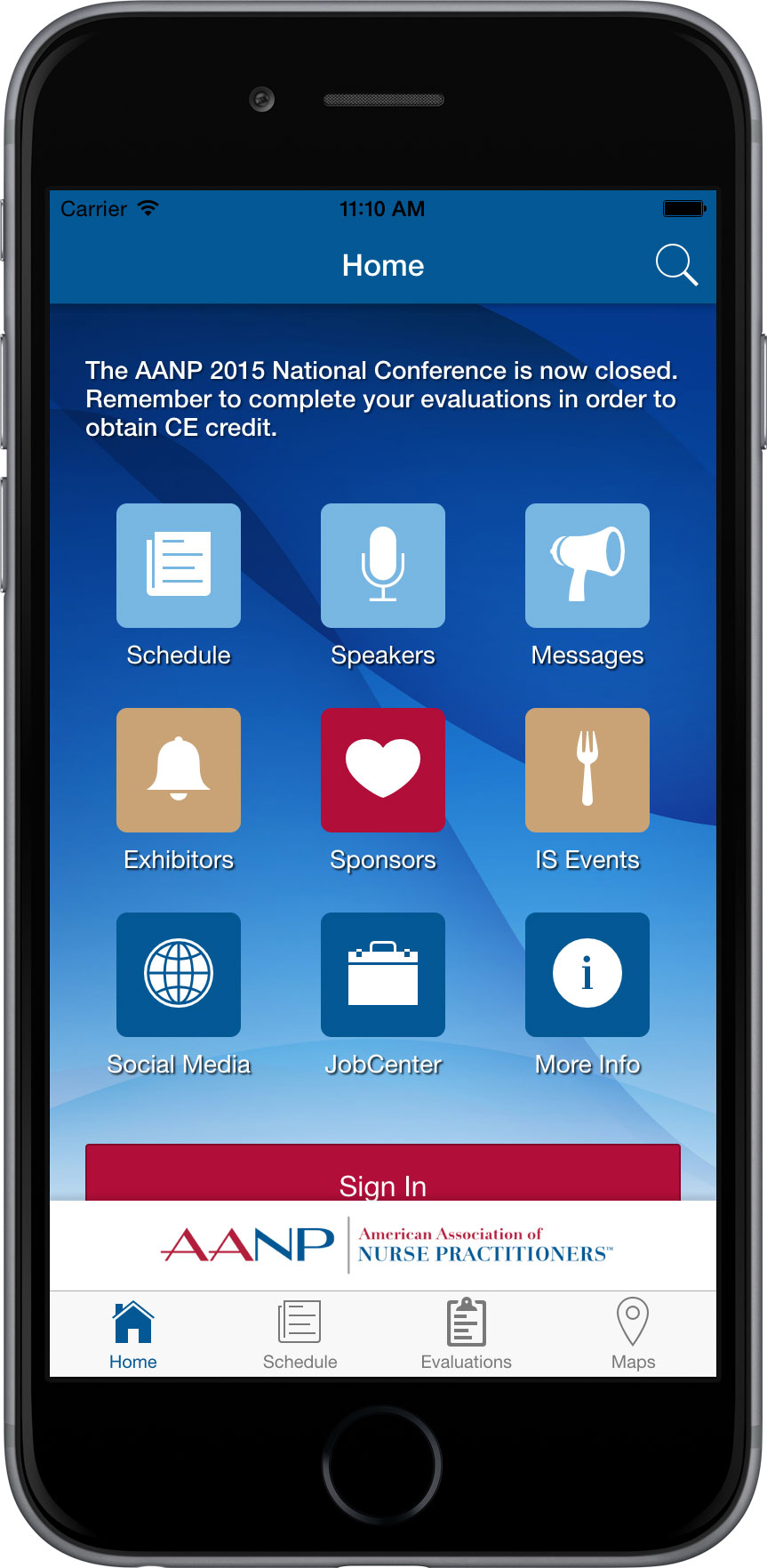 AANP Conference Mobile App - Home Screen