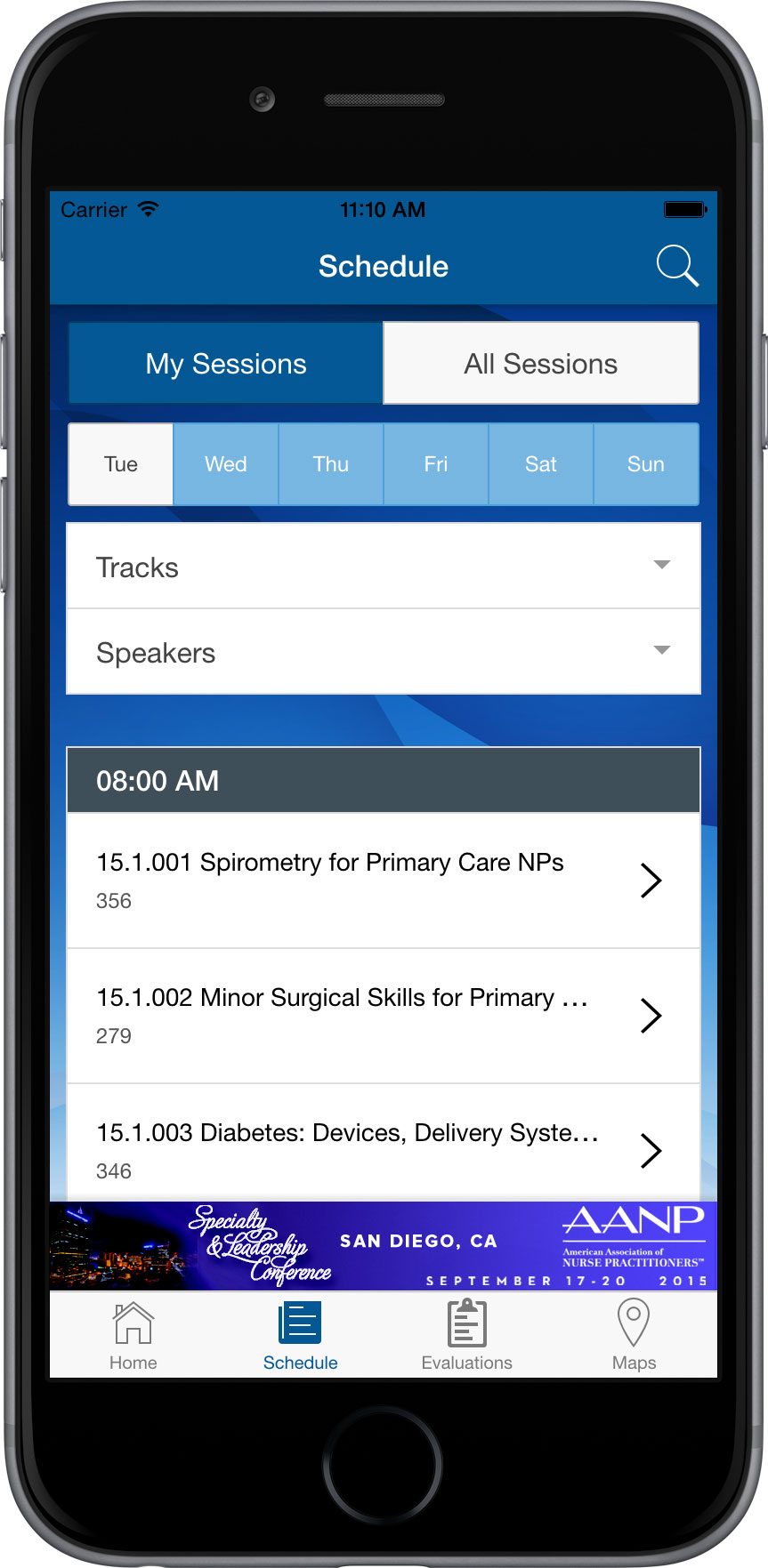 AANP Conference Mobile App - Schedule Screen