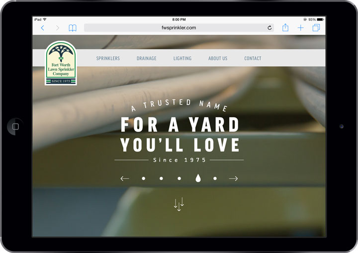 Fort Worth Lawn Sprinkler Site - Tablet View
