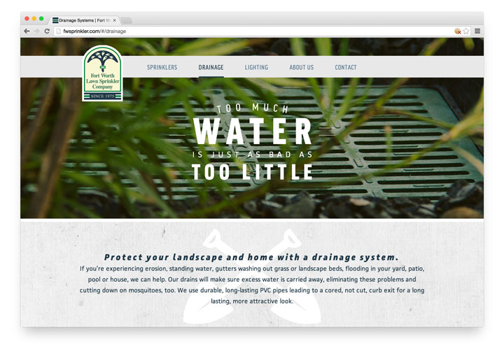 Fort Worth Lawn Sprinkler Site - Desktop View