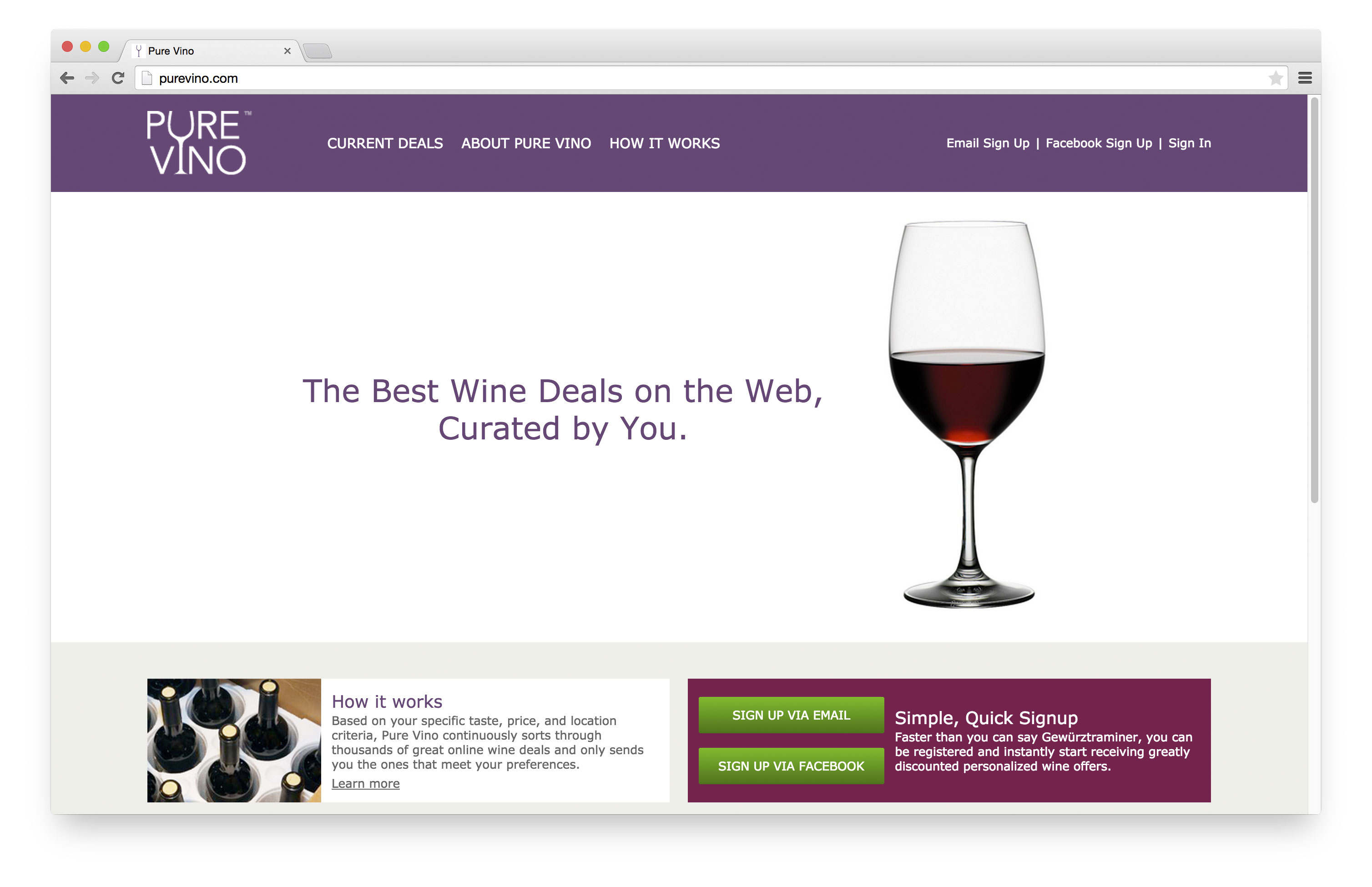 Pure Vino - Home Page - on desktop