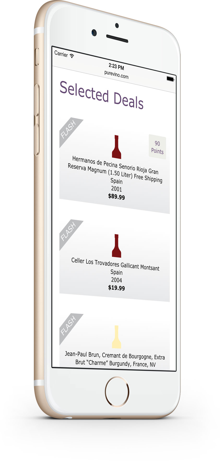 Pure Vino - Selected Deals Page - on mobile