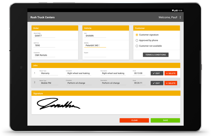 Mobile RO Signature Screen