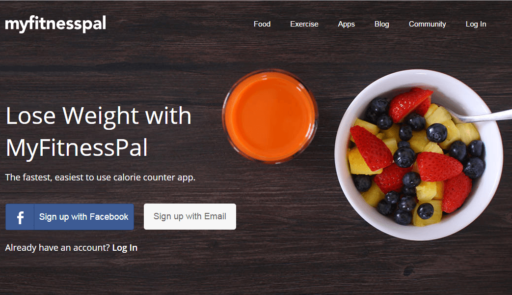 Mobile app development - my fitness pal Desktop