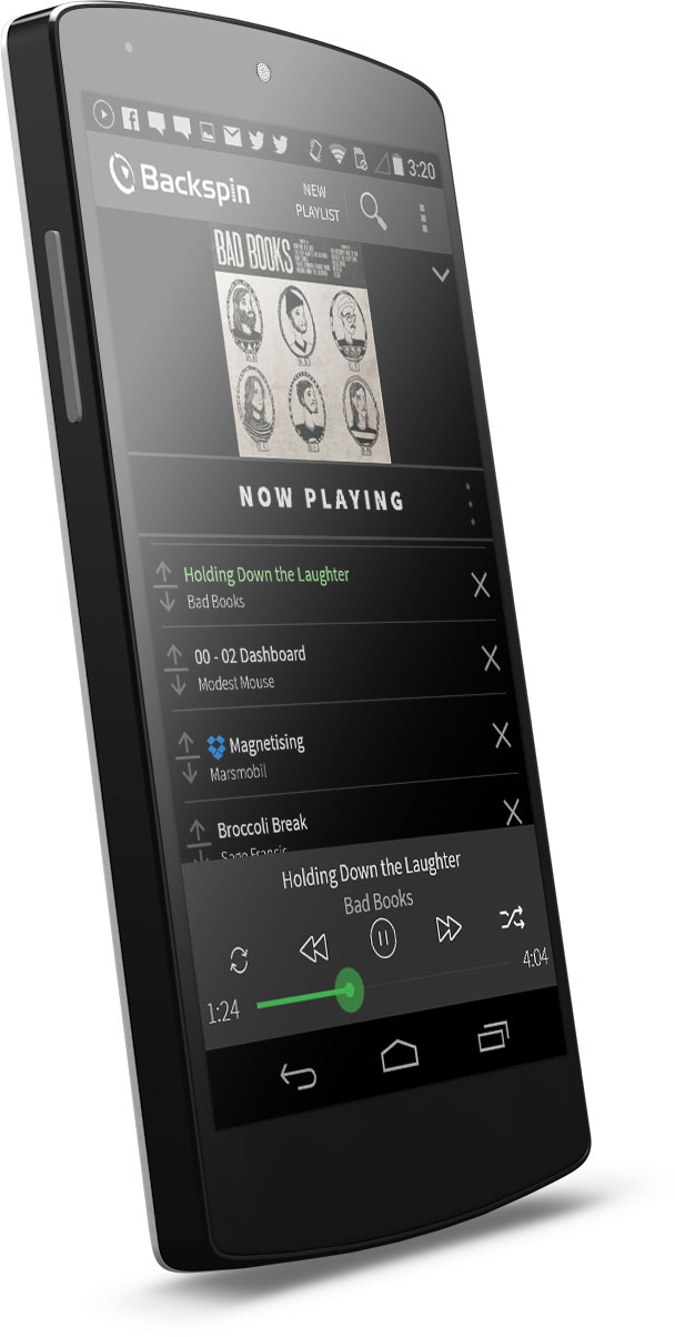 Example of an Android ListView from the Backspin App.
