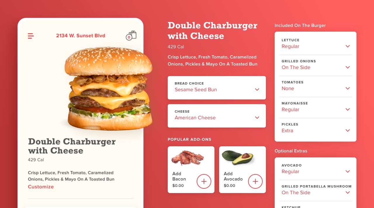 Habit Burger Mobile App - Customizaion Options