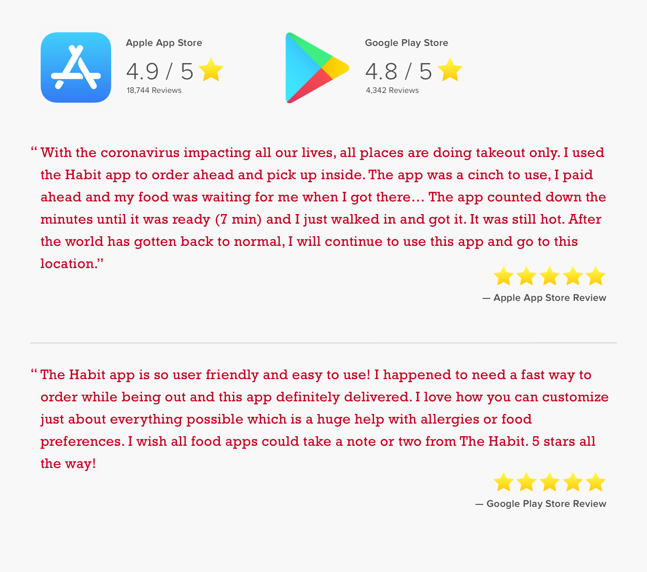 5 star reviews from app stores