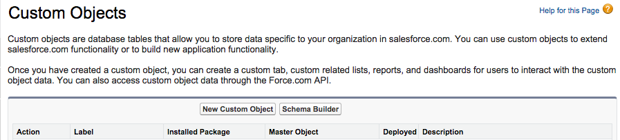 Salesforce Custom Object Page