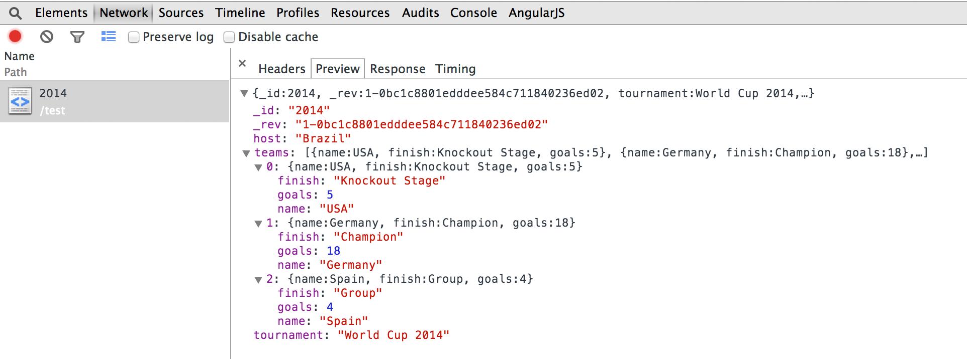 Single Page Application Google Developer Tools Response