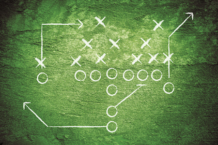 football play chalk on grass - business process methaphor