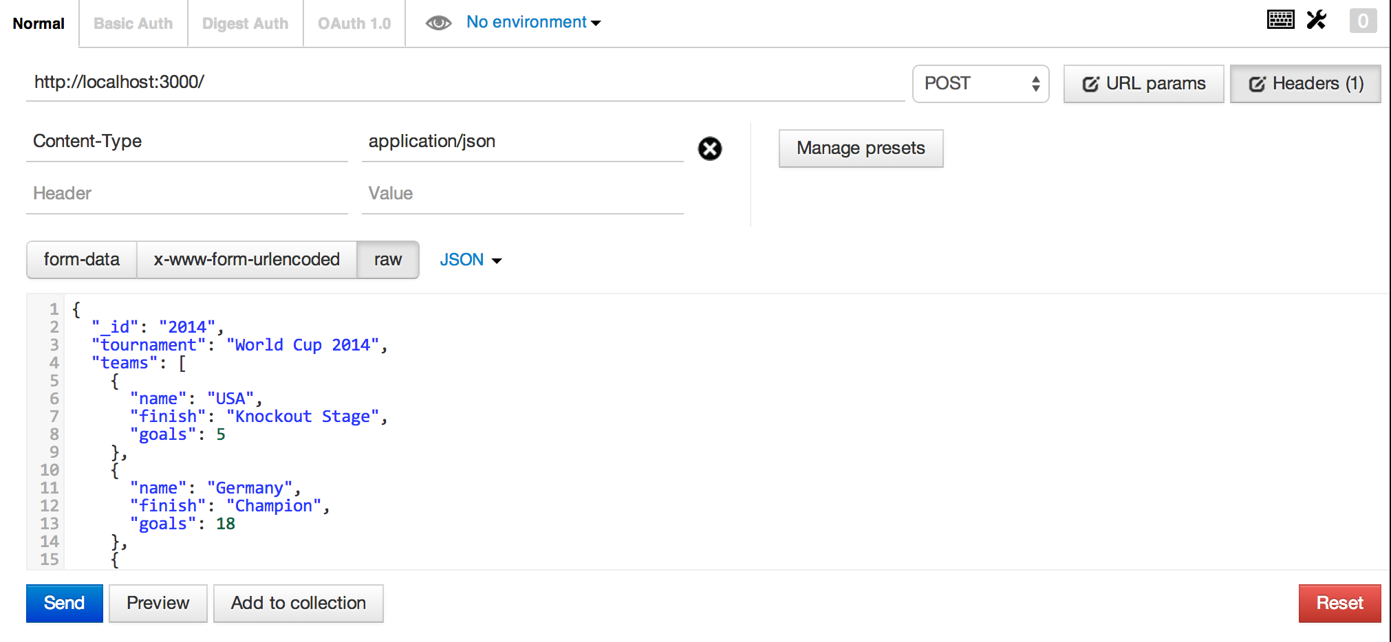 Sending JSON REST API Request with Postman